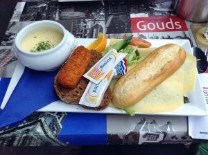Gouda Trio: a delicious cheese soup, cheese kroket, and cheese sandwich from my time in Gouda!